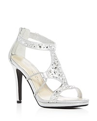Caparros Emilie Jeweled Metallic High Heel Sandals Silver