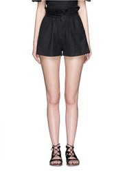 Mara Hoffman Ruffle Paperbag Waist Linen Cotton Mini Shorts Black