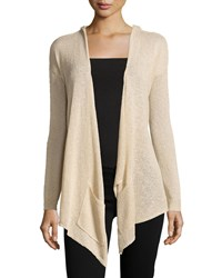 La Fee Verte Slub Knit Hooded Open Cardigan Tan