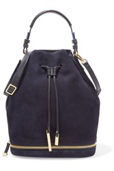 Halston Suede And Textured Leather Bucket Bag Blue