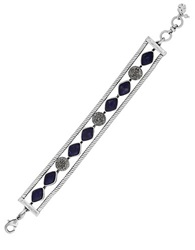 Lucky Brand Pave Crystal Accented Chain Link Bracelet Silver