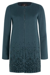 Steffen Schraut 5Th Avenue Embellished Wool Coat Green