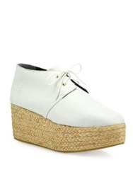 Robert Clergerie Patos Leather Platform Espadrille Oxfords White