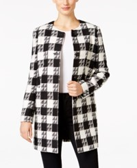 Nine West Four Button Houndstooth Long Jacket Black Ivory