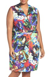 Ellen Tracy Plus Size Women's Print Jersey Sleeveless Faux Wrap Dress Multi