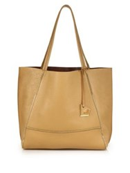 Botkier New York Soho Zipper Trimmed Leather Tote Camel