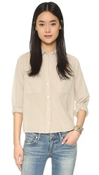 Enza Costa Peasant Voile Button Down Blouse Feather Grey