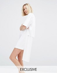 House Of Sunny Zip Front Shirt Dress White