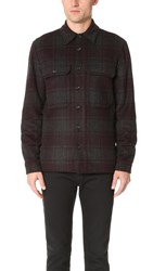 Vince Wool Plaid Military Jacket H. Charcoal Oxblood