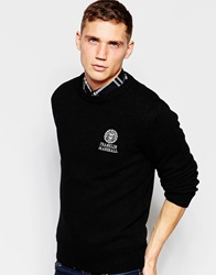 Franklin And Marshall Lambswool Knitted Crew Neck Jumper Black