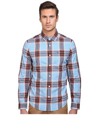 Original Penguin Long Sleeve Space Dye Plaid Seaport Men's Long Sleeve Button Up Blue