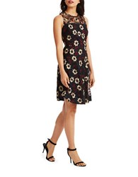 Donna Morgan Sleeveless Embroidered Dress Black Costume Multi