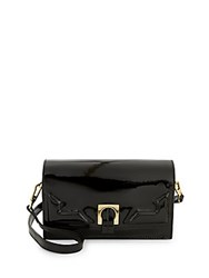 Halston Patent Leather Convertible Clutch Black