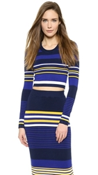 Torn By Ronny Kobo Emma Crop Top White Blue