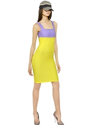 Fausto Puglisi Two Tone Lycra Jersey Dress Yellow Lilac