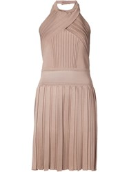 Balmain Halter Neck Dress Brown