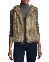 525 America Hooded Rabbit Fur Vest Natural
