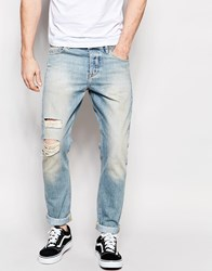 Asos Slim Jeans With Rip And Repair In Green Caste Light Blue Blue