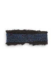 Saks Fifth Avenue Marled Knit And Faux Fur Head Wrap Black Blue