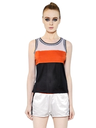 Diesel Techno Mesh And Jersey Tank Top Black Red