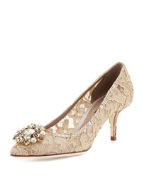 Dolce And Gabbana Jewel Embellished Lace Pump Sand Sabbia