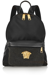 Versace Studded Leather Trimmed Satin Shell Backpack