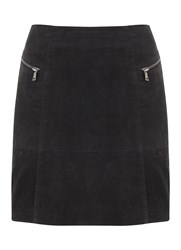 Mint Velvet Granite Suede Embossed Croc Skirt Grey