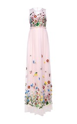 Andrew Gn Sleeveless Floral Gown Pink