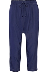 Clu Cropped Silk And Cotton Blend Tapered Pants