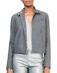 Lauren Ralph Lauren Wool Moto Jacket Grey