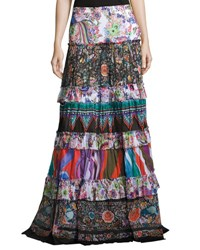 Roberto Cavalli Mixed Print Tiered Maxi Peasant Skirt Multicolor