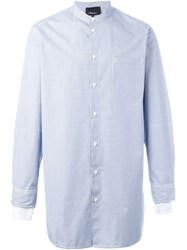 3.1 Phillip Lim Striped Band Collar Shirt Blue