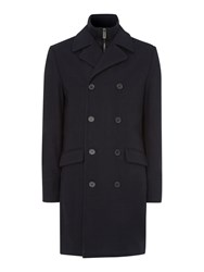 Linea Lincoln Long Funnel Utility Wool Coat Navy