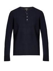 Vince Long Sleeved Cashmere Henley Sweater Dark Blue