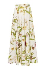 Karen Millen Floral Print Cotton Maxi Skirt Multicolour
