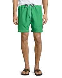 Psycho Bunny Solid Knee Length Swim Trunks Green