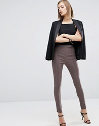 Asos High Waist Trousers In Skinny Fit Cosmetic Chocolate Brown