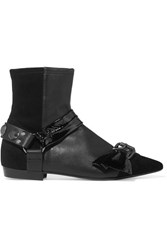 Isabel Marant Reidya Patent Paneled Leather And Suede Ankle Boots Black