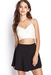 Forever 21 Faux Leather Crop Top Cream