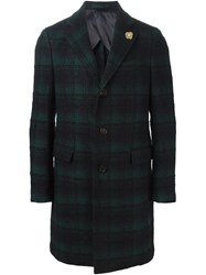 Lardini Single Breasted Checked Coat Blue