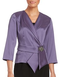 Alex Evenings Three Quarter Sleeved Beaded Blouse Amethyst