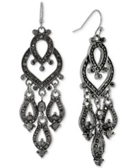 2028 Hematite Tone Jet Crystal Chandelier Earrings Black
