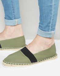 Asos Espadrilles In Khaki Canvas With Contrast Sole Khaki Green