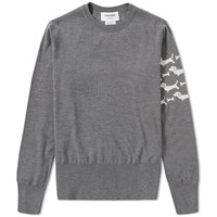 Thom Browne Hector Arm Stripe Crew Knit Grey