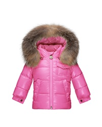 Moncler K2 Hooded Fur Trim Puffer Coat Pink Size 12M 3