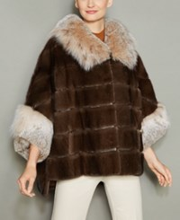 The Fur Vault Lynx Trim Mink Jacket Demibuff Natural