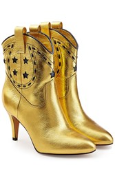 Marc Jacobs Georgia Metallic Leather Cowboy Boots Gold
