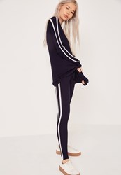 Missguided Stripe Leggings Navy Blue