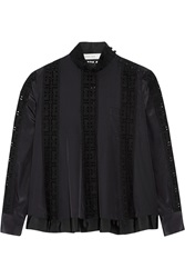 Sacai Luck Crepe De Chine And Lace Top