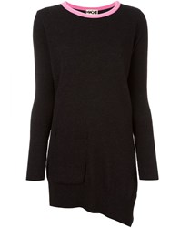 Hache Contrast Collar Asymmetric Jumper Black
